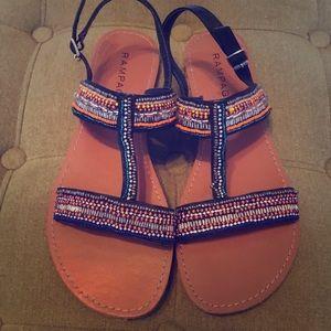 Rampage beaded boho sandals/ Size 8